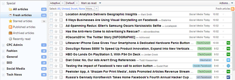 RSS feed content overload
