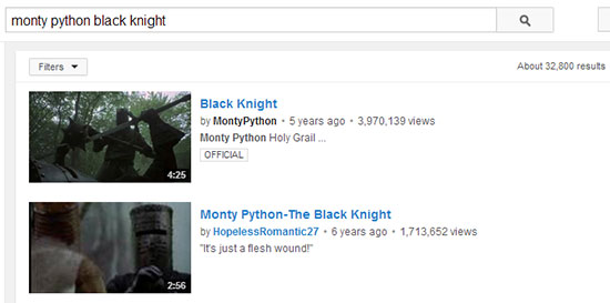 Monty Python Youtube Search