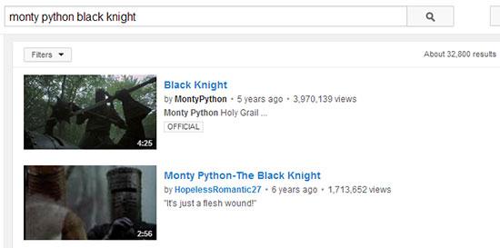 Monty Python Youtube Search