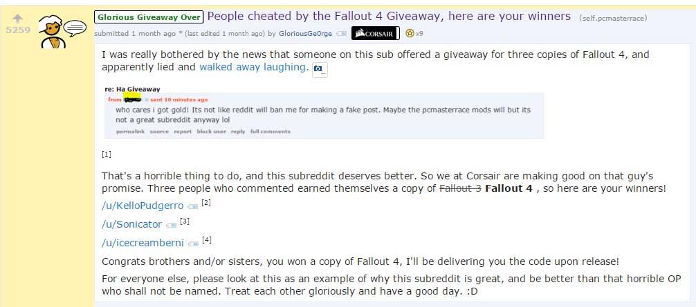 reddit corsair giveaway marketing success